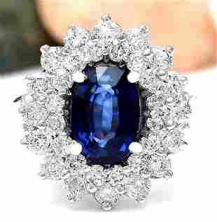 4.16 CTW Natural Sapphire 14K Solid White Gold Diamond