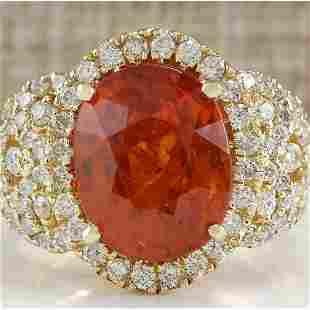 11.31CTW Natural Mandarin Garnet And Diamond Ring In18K