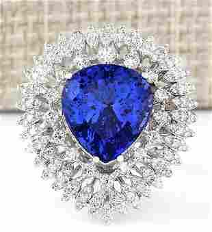 12.23 CTW Natural Blue Tanzanite And Diamond Ring 18K