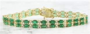 11.78 CTW Emerald 18K Yellow Gold Diamond Bracelet