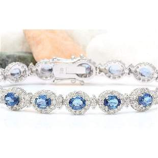 16.48 CTW Natural Sapphire 18K Solid White Gold Diamond