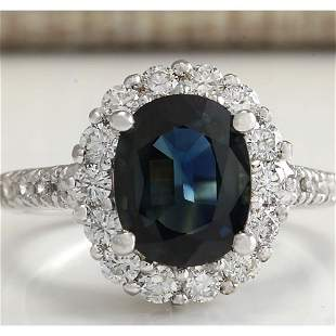 3.68 CTW Natural Blue Sapphire Diamond Ring 18K Solid