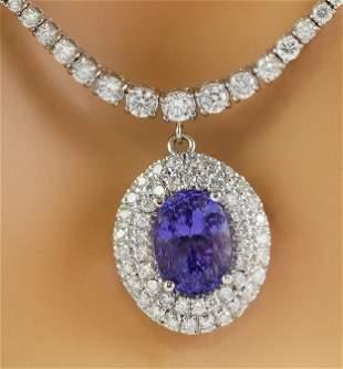 12.11 CTW Tanzanite 18K Gold Diamond Necklace