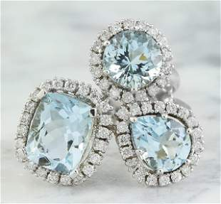 4.98 CTW Aquamarine 14K White Gold Diamond Ring