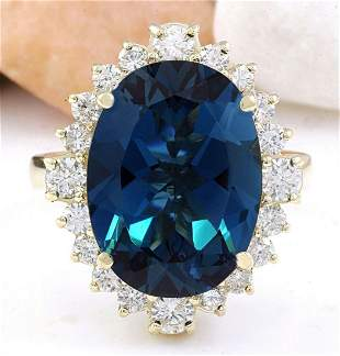 12.03 CTW Natural Topaz 14K Solid Yellow Gold Diamond