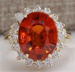 6.96CTW Natural Mandarin Garnet And Diamond Ring In14K