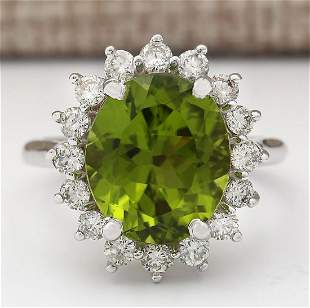 7.60 CTW Natural Peridot And Diamond Ring In 14k White