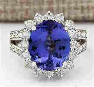 7.33 CTW Natural Blue Tanzanite And Diamond Ring 18K