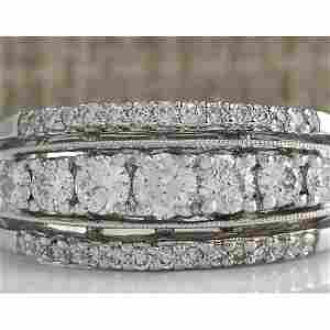 1.00 CTW Natural Diamond Ring In18K Solid White Gold