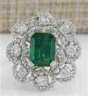 4.70 CTW Natural Emerald And Diamond Ring In 18K White