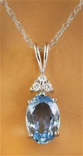 1.51 CTW Aquamarine 18K White Gold Diamond Necklace
