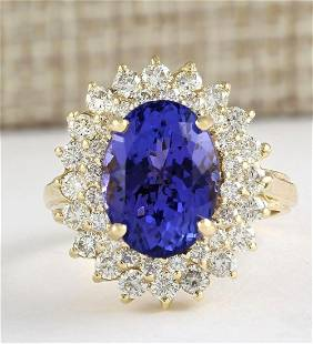 7.26 CTW Natural Tanzanite And Diamond Ring In 18K