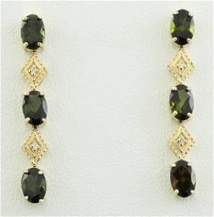 2.65 CTW Tourmaline 18K Yellow Gold Diamond Earrings