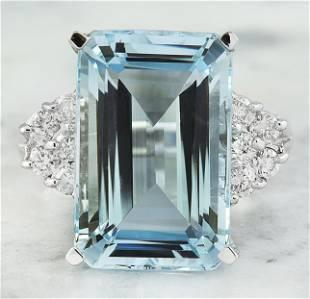 6.15 CTW Aquamarine 14K White Gold Diamond Ring