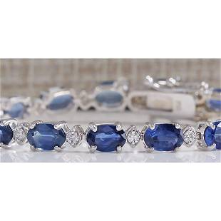 11.15CTW Natural Sapphire And Diamond Bracelet In 14K