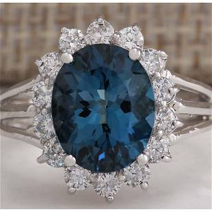 4.37CTW Natural London Blue Topaz And Diamond Ring