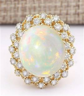 11.29 CTW Natural Opal And Diamond Ring In 14k Yellow