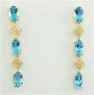 2.65 CTW Topaz 14K Yellow Gold Diamond Earrings