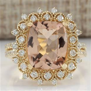 5.09 CTW Natural Morganite And Diamond Ring 18K Solid