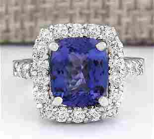 4.95 CTW Natural Blue Tanzanite And Diamond Ring 14k