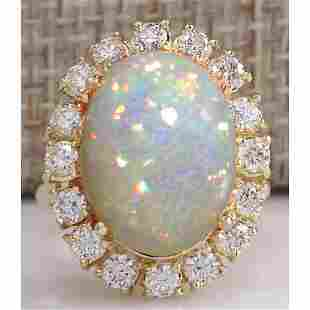 8.03 CTW Natural Ethiopian Opal And Diamond Ring In 14K