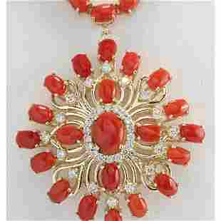 53.01 CTW Natural Red Coral And Diamond Necklace In 14K