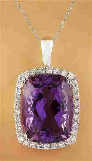 7.85 CTW Amethyst 18K White Gold Diamond Necklace
