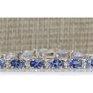 8.74 CTW Natural Blue Tanzanite Bracelet In 18K White
