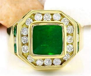 MENS 5.95 CTW Natural Emerald 18K Solid Yellow Gold
