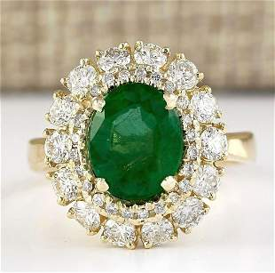 3.60 CTW Natural Emerald And Diamond Ring In 14k Yellow