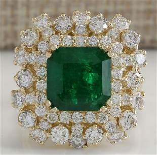 7.02CTW Natural Emerald And Diamond Ring 14K Solid