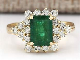 2.05 CTW Natural Emerald And Diamond Ring In 14k Yellow