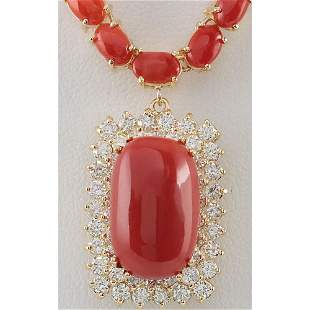 38.32 CTW Natural Red Coral And Diamond Necklace In 14K