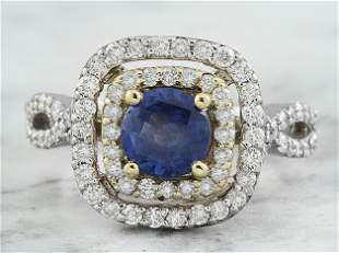 2.26 CTW Sapphire 18K Two Tone Gold Diamond Ring