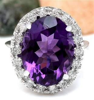 9.30 CTW Natural Amethyst 18K Solid White Gold Diamond