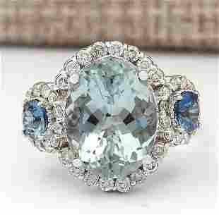 7.41 CTW Natural Aquamarine, Sapphire Diamond Ring In