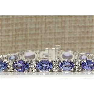 15.95 CTW Natural Tanzanite And Diamond Bracelet In 14K