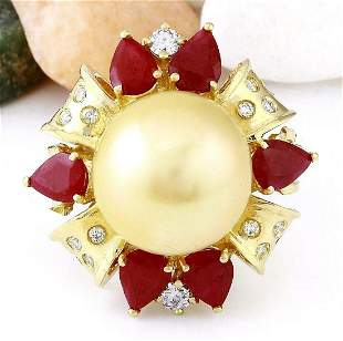 15.15 mm Gold South Sea Pearl, Ruby 14K Solid Yellow