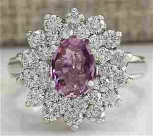2.72 CTW Natural Pink Sapphire Diamond Ring 18K Solid