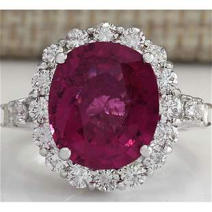 6.92 CTW Natural Rubelite And Diamond Ring In18K White