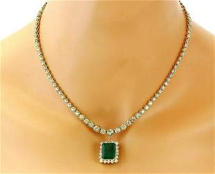 13.80 CTW Natural Emerald 14K Solid Yellow Gold Diamond