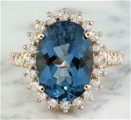 8.35 CTW Topaz 14K Rose Gold Diamond Ring