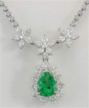12.43 CTW Natural Emerald And Diamond Necklace In 18K