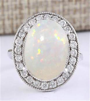 6.45 CTW Natural Opal And Diamond Ring In 18K White