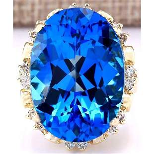 30.50 CTW Natural Topaz 18K Solid Yellow Gold Diamond