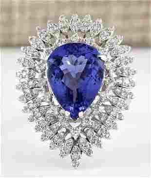 7.59 CTW Natural Blue Tanzanite And Diamond Ring 18K