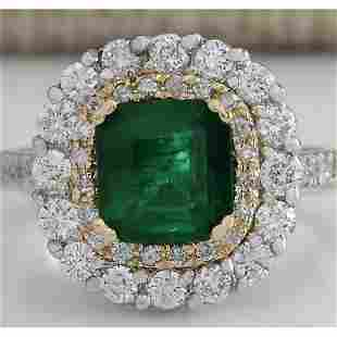 2.88 CTW Natural Emerald And Diamond Ring 14K Solid