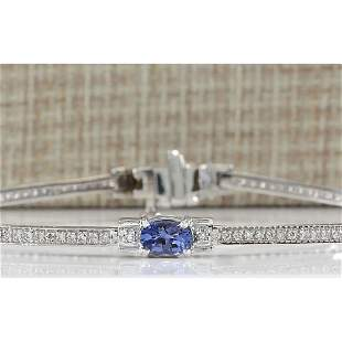 3.75CTW Natural Tanzanite And Diamond Bracelet In 18K