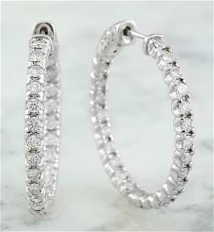 1.40 CTW 18K White Gold Diamond Hoop Earrings