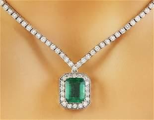 5.62 CTW Emerald 18K White Gold Diamond Necklace